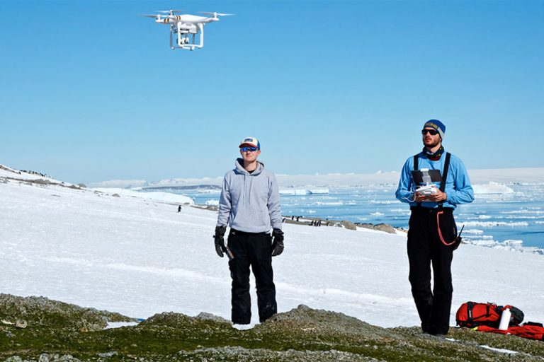 Flying a UAV in Antarctica. CREDIT: Casey Youngflesh, © Stony Brook University