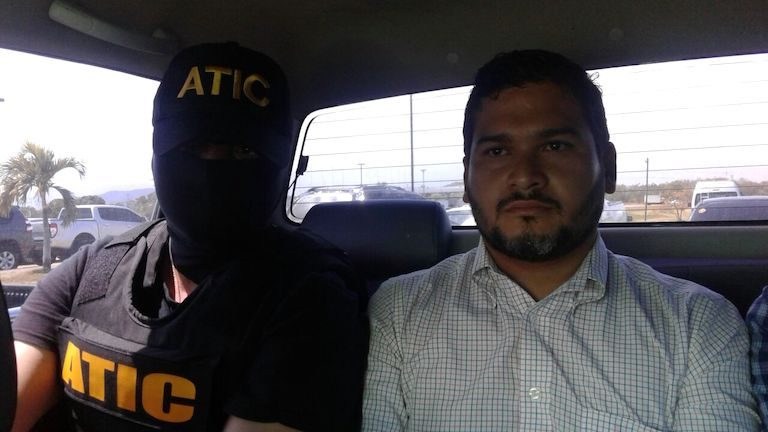 David Castillo Mejía, the hydroelectric company executive arrested for orchestrating the murder of activist Berta Cáceres, in the custody of Honduran authorities. Photo courtesy of the Attorney General's office of the Republic of Honduras.