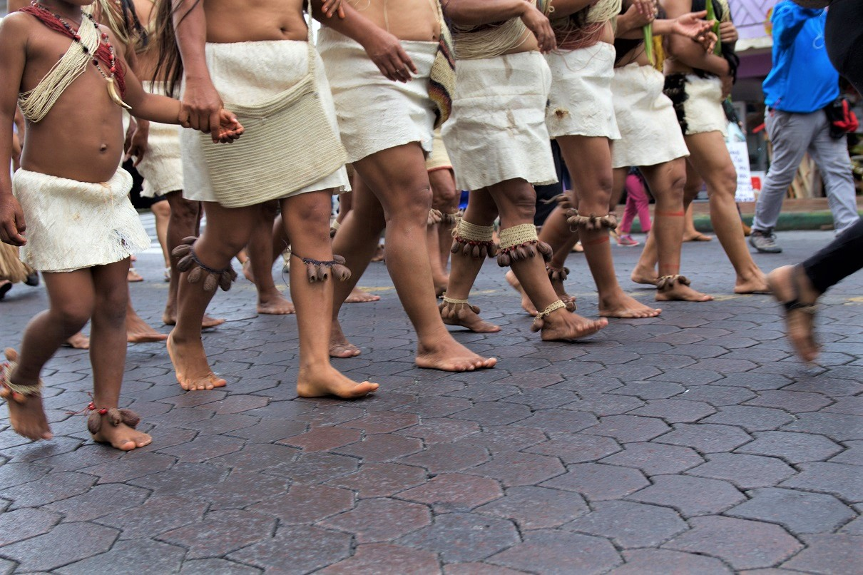 Women of the Amazonian Woarani community march through the streets of Puyo on International Women's Day in bare feet on March 8, 2018. Photo by Kimberley Brown/Mongabay.