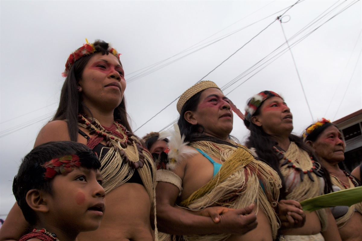 Women of the Amazonian Woarani community march through the streets of Puyo, Ecuador on March 8, 2018. Photo by Kimberley Brown/Mongabay.