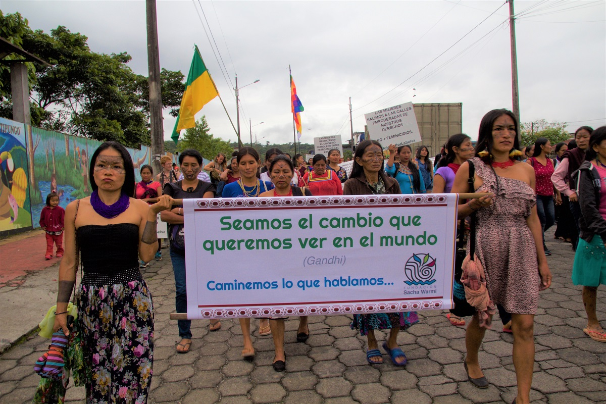 Indigenous women of the Amazonian Quechua community march through the city of Puyo, Ecuador on International Women's Day on March 8, 2018. Photo by Kimberley Brown/Mongabay.