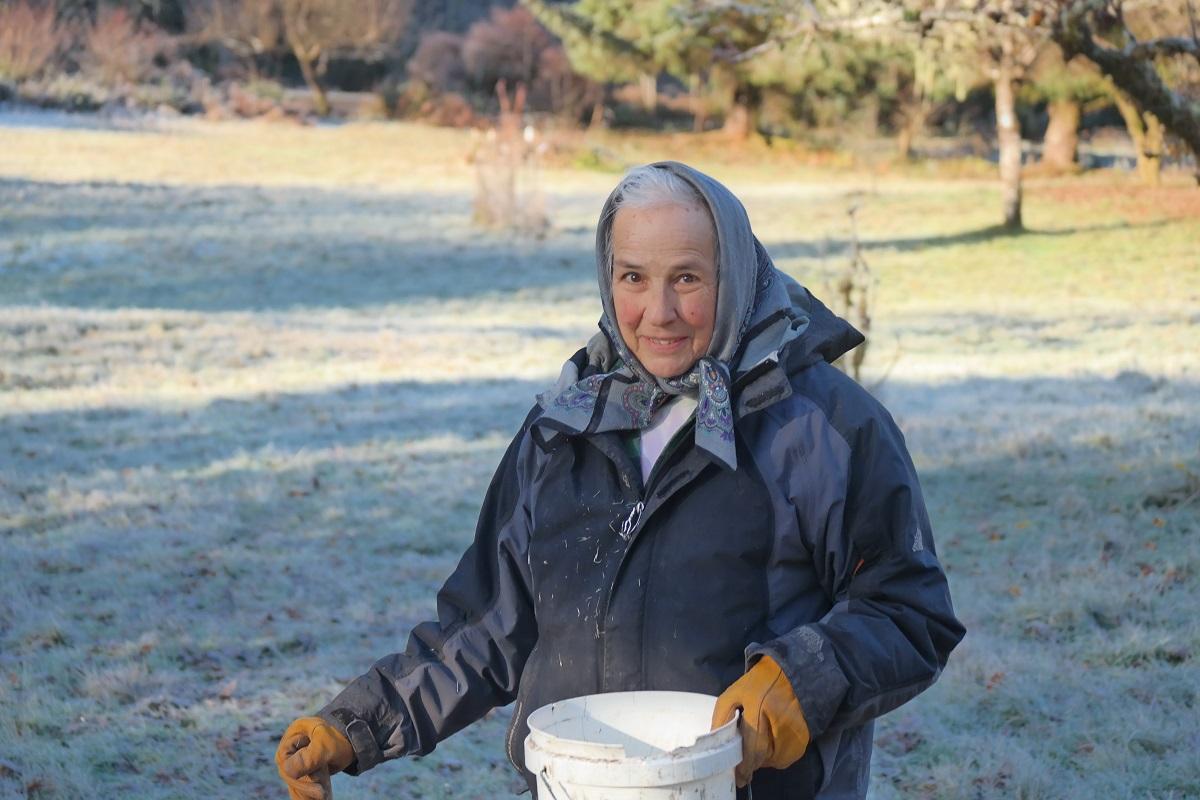 Carol Van Strum, winter 2017. Photo courtesy of Peggy Brewster.