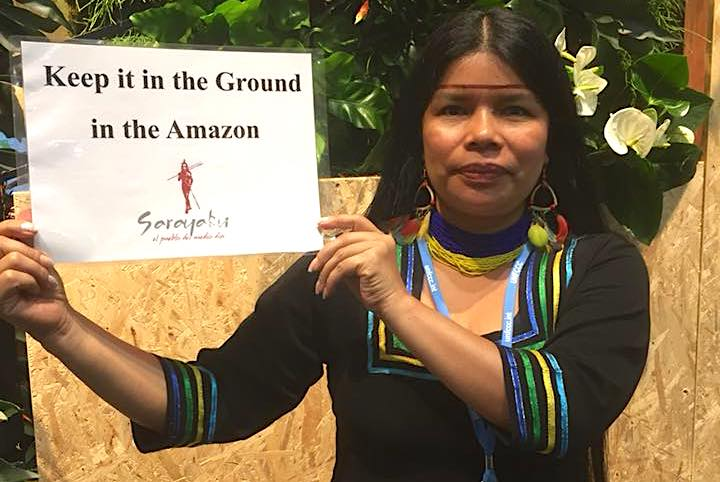 Patricia Gualinga participated in the Climate Change Summit COP23, in Bonn, Germany. Photo courtesy of Patricia Gualinga.