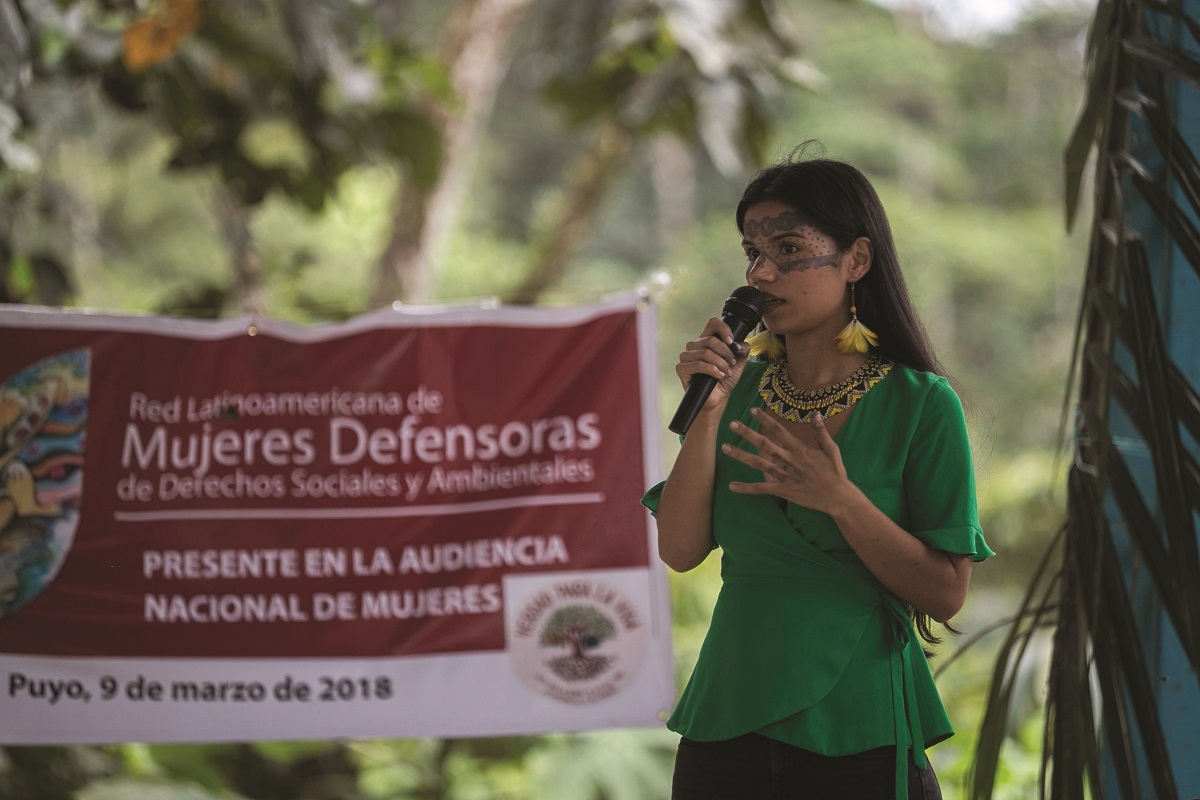Rosa Chuji, from the community of Amazonian Quechua from Sarayaku, participated as organizer of the march of the Amazonian women against the extractivism on March 9, 2018. Photo by Jonatan Rosas.