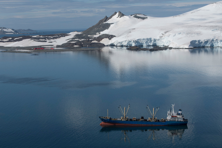 The Iris Reefer, a vessel that takes on catch from fishing vessels and supplies them with fuel, at anchor in Discovery Bay, in the Antarctic. Photo by Daniel Beltrá/Greenpeace.