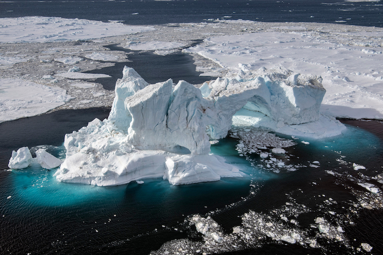 Aerial view taken off James Ross Island in the Weddell Sea, Antarctica. Photo by Daniel Beltrá/Greenpeace.