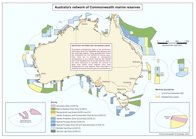 Australia's extensive system of marine parks circa 2014, prior to changes in zoning under newly released management plans. The large area off the country's northeastern shore is the massive Coral Sea Marine Park. Map courtesy of Commonwealth of Australia.