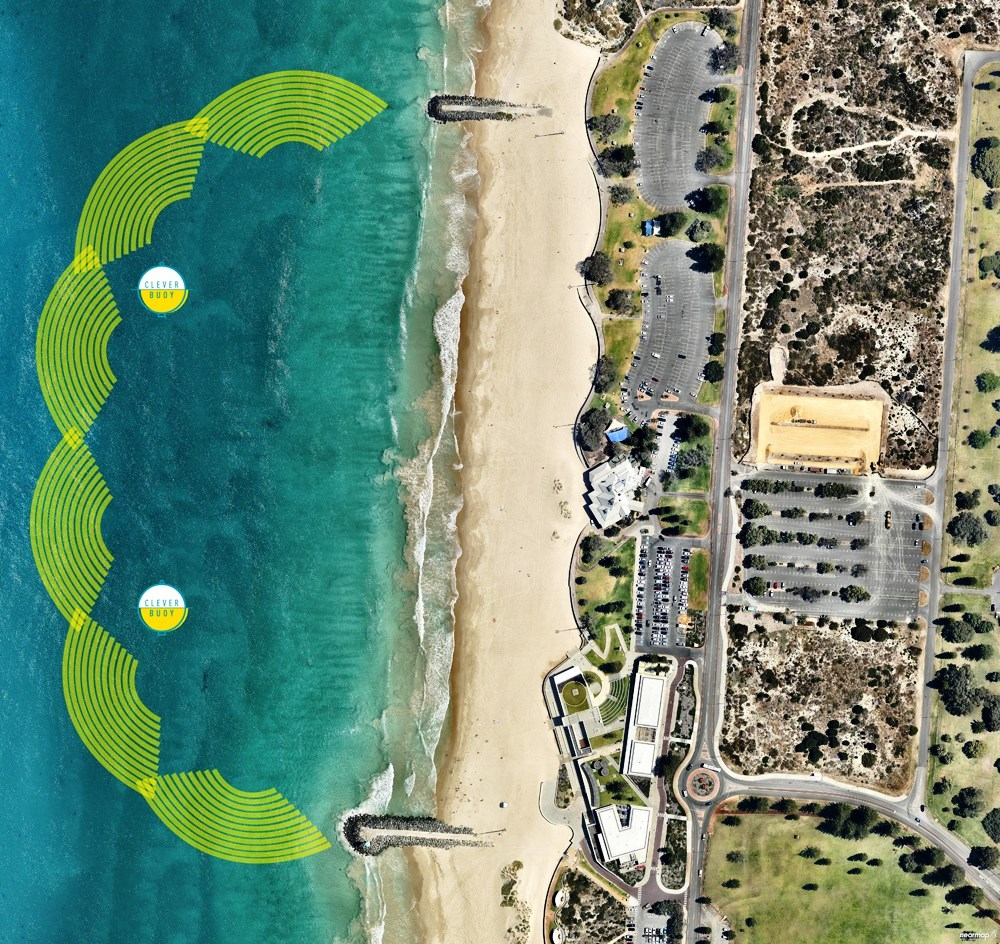 The virtual net created by two Clever Buoys each connected to three sonar transducers at City Beach, near Perth, Australia.