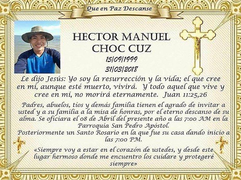 The Choc family invited relatives to pay final respects to Héctor Choc Cuz. Image courtesy of the Choc family via Rights Action.