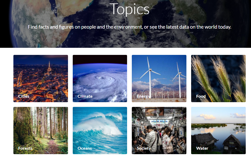 The Topics page of Resource Watch lets you click to see global-scale figures on a broad area of interest, such as climate, food, or forests.