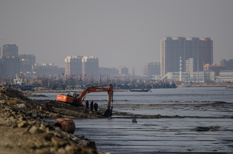 Workers build a coastal embankment near the Port of Dandong, China. Land reclamation projects like this have impinged on coastal mudflats around the Yellow Sea, which are a key habitat for migratory birds. Image by Nick Murray, University of New South Wales.