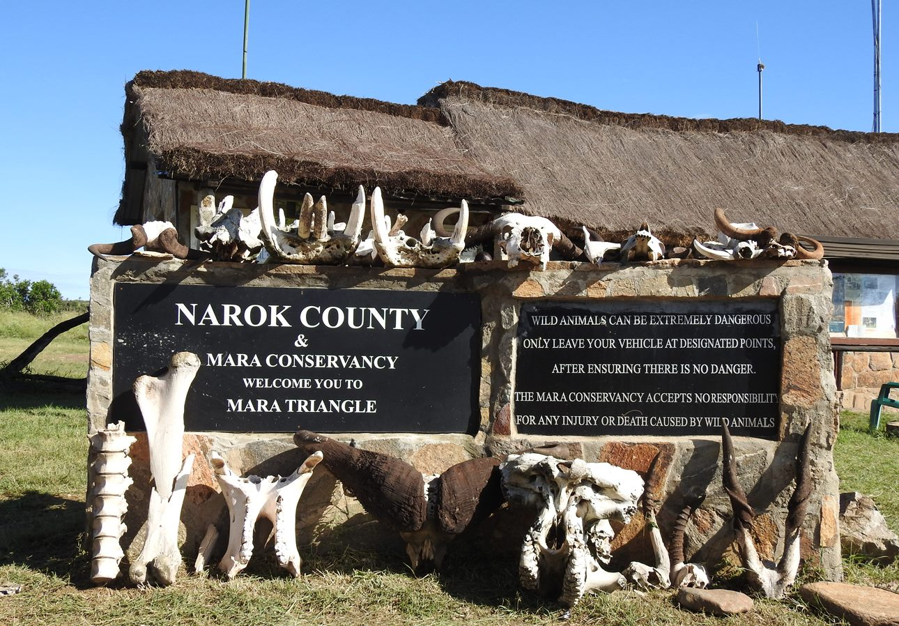 Entry gate to the Mara Triangle, which makes up the western portion of the Maasai Mara National Reserve in southern Kenya.