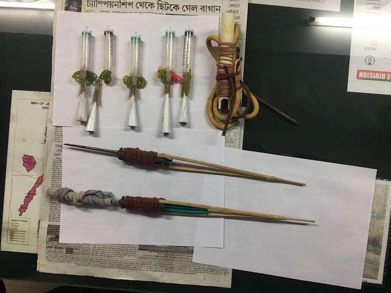 Syringes, slingshots and other modified equipment seized during anti-poaching actions in Jaldapara National Park. Photo credit: Rahul Dutta