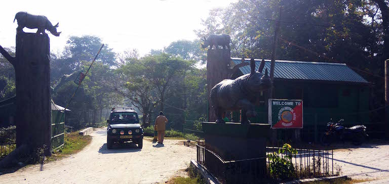 The entrance to Jaldapara National Park. According to the most recent census in 2015, the park harbors 204 rhinos. Photo credit: Moushumi Basu
