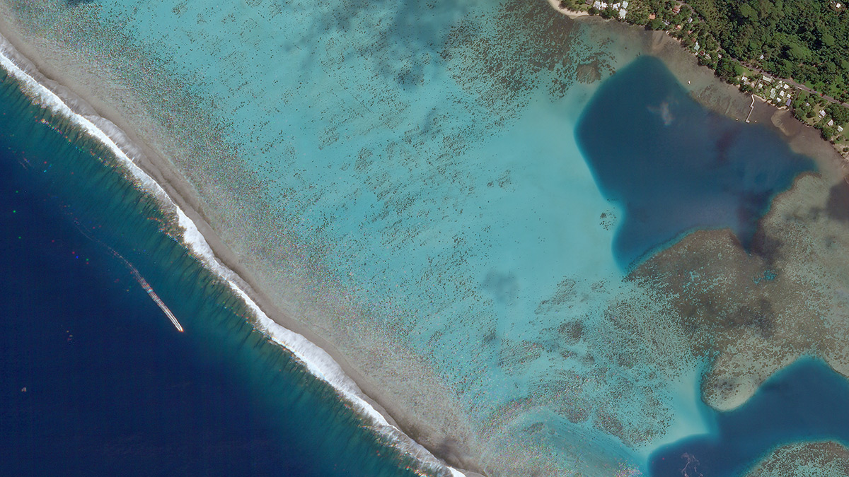 "Planet satellite image of reef off Moorea Island in Tahiti. ""We need to know what is occurring in this hidden world of shallow coral reefs if we  have any hope to save them,"" said Art Min, vice president of impact for Paul Allen Philanthropies, in a statement."