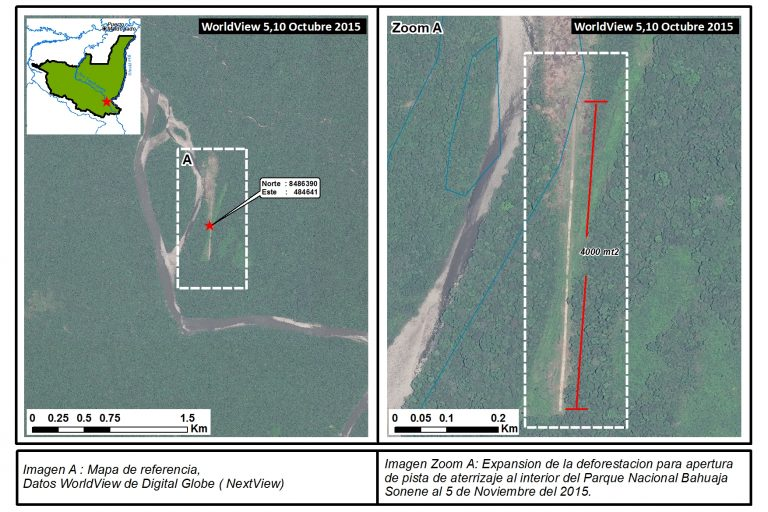 In 2015, park rangers from Bahuaja-Sonene National Park identified an unauthorized airstrip inside the park. Photos courtesy of DigitalGlobe's WorldView. Image A: Reference map. Courtesy of DigitalGlobe's WorldView (NextView).