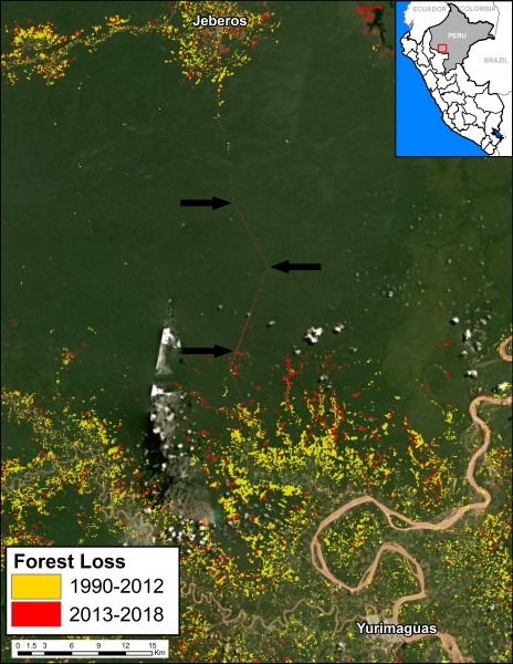 The linear pattern of forest loss from the Yurimaguas-Jeberos Road extends out from areas that have faced extensive deforestation since 1990