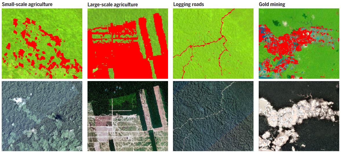 Detecting forest loss with Landsat-based GLAD alerts, top, and identifying deforestation drivers with high spatial and temporal resolution Planet imagery. Both technologies show the different spatial patterns of forest loss caused by different human activities. Image by Finer et al (2018)/Science 360 (6395), 1303-1305. DOI: 10.1126/science.aat1203.