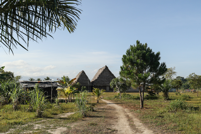 Two recently constructed temples serve as the center-piece of the Garifuna community of Vallecito. Image by Christopher Clark for Mongabay.