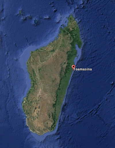 Map shows the location of Toamasina, Madagascar's largest port. Image by Google Earth.