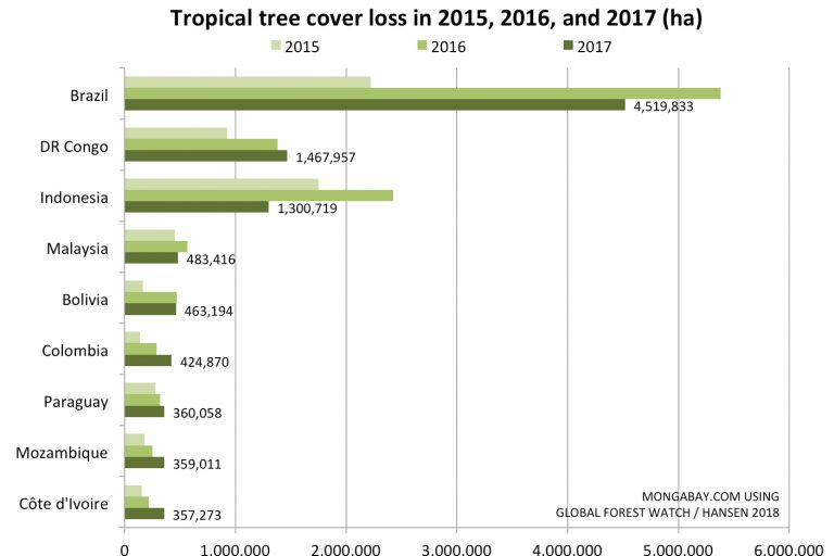 A breakdown of the new UMD data shows Brazil experienced by far the most tree cover loss in 2017. Indonesia, while currently in the top three, nearly halved its tree cover loss between 2016 and 2017.