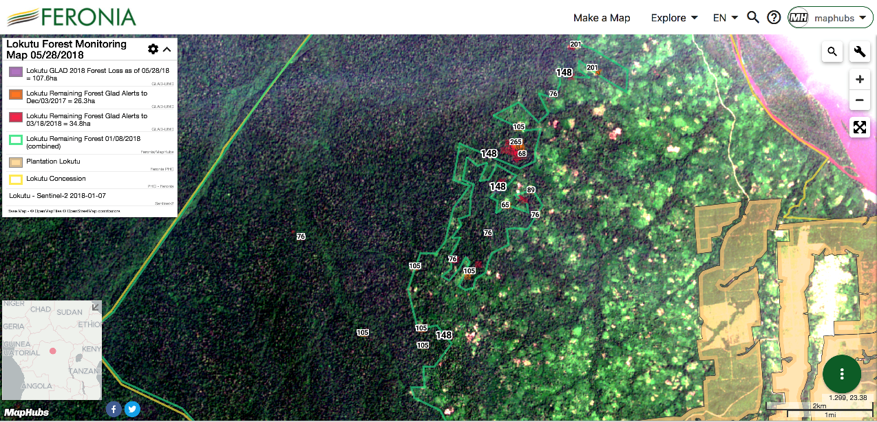 A screenshot of an interactive map of Feronia's Lokutu concession showing GLAD 30-meter forest loss alerts and vector polygon data, including the concession boundary, overlaid on a Sentinel satellite base image.