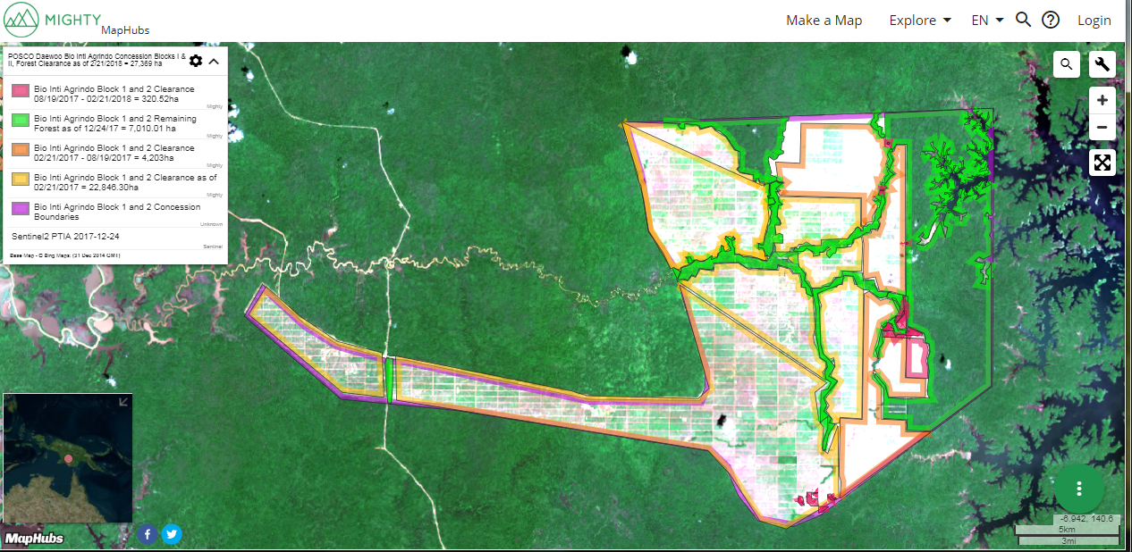 A MapHubs forest dashboard of one of POSCO Daewoo's oil palm concessions in Indonesia showing a map and associated calculations of loss of tree cover and of intact forest landscapes (IFL).