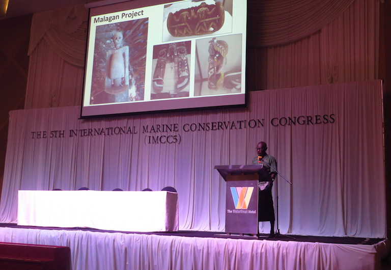 John Aini delivers his plenary talk on June 26 at the International Marine Conservation Congress, held in Kuching, Malaysia. Image by Basten Gokkon/ Mongabay.