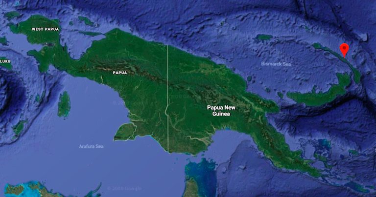 Map shows New Ireland province in Papua New Guinea. Image courtesy of Google Maps.