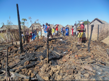 The home of one of Fikambanana Bongolava Maitso's collaborators was burned to the ground around the time of the attack. Image courtesy of Cyprien Miandrimanana/ FBM.