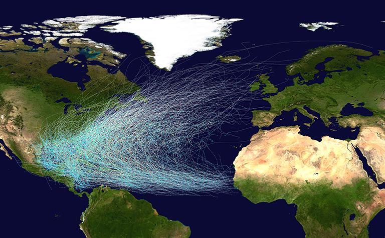 Hurricane history in the Atlantic
