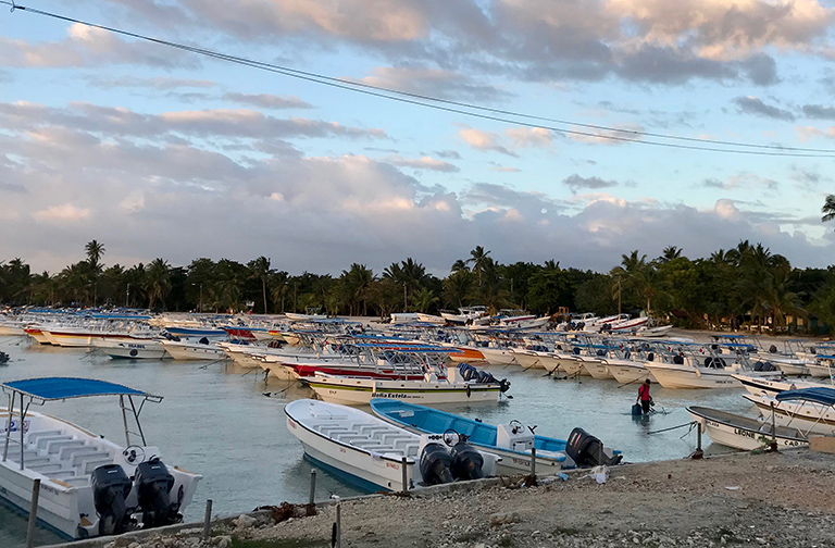 Tourist boats prepared for departure from Bayahibe, Dominican Republic. Photo by Greg Asner.