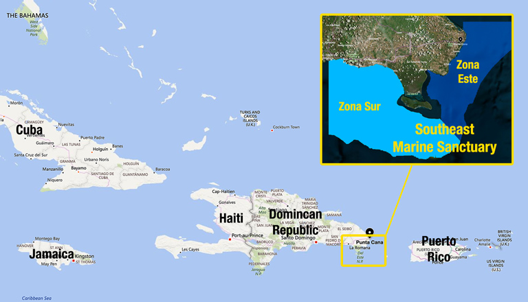 The Dominican Republic and the new Southeast Marine Sanctuary. Adapted from Bing Maps by Mongabay.