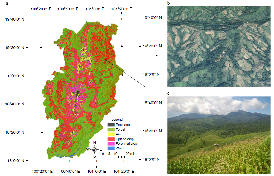 Cropland expansion along topographical frontiers in the 21st century in Nan, Thailand, a hilly and mountainous province located in the north of the country. a, The RapidEye (5 m resolution) satellite land-cover maps in 2017, showing areas of settlements, forest, rice, other crops, and water. The data were produced by the Geo-Informatics and Space Technology Development Agency (GISTDA), obtained from KASIKORN Foundation in Thailand. b, An aerial view of formerly forested land converted to croplands in the highlands, obtained from Google Earth (CNES/Airbus, image date: 2 February 2014). c, Photograph of general area of b from August 2016.