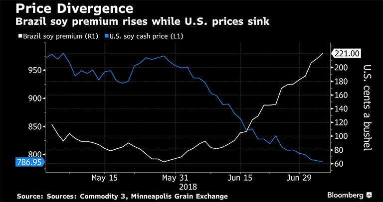 The premium between U.S. soybeans and Brazilian soybeans has more than tripled since the end of May due to Trump's trade threats, according to data from Bloomberg
