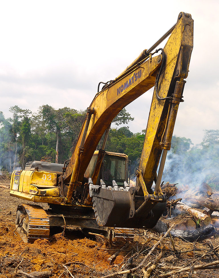 A Chinese road-construction company destroying rainforest in the Congo Basin, as part of the Belt & Road Initiative. Photo by William Laurance.