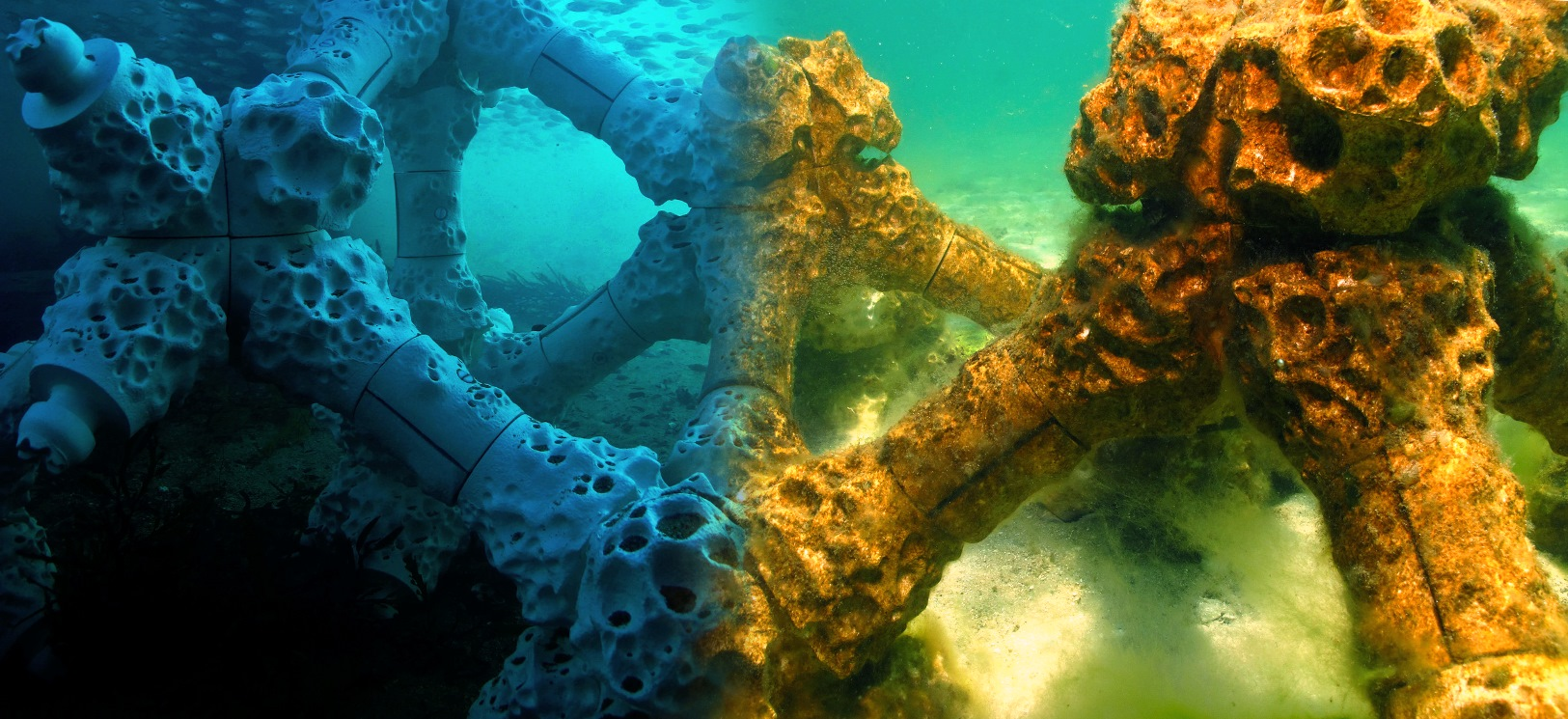 An interlocked MARS reef structure, upon installation and as marine life begins to colonize it.