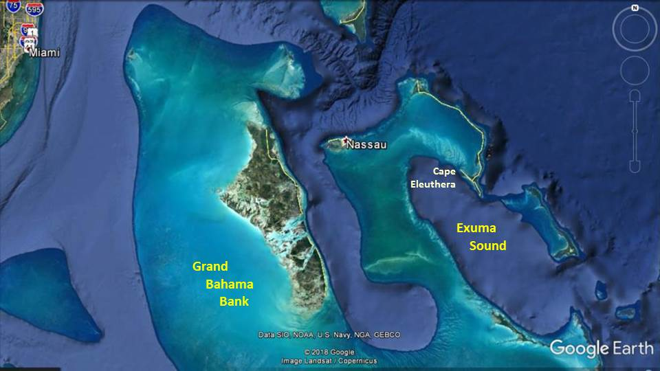 Exuma Sound, part of The Bahamas, includes deep-water habitats not found in the shallower Grand Bahama Bank.