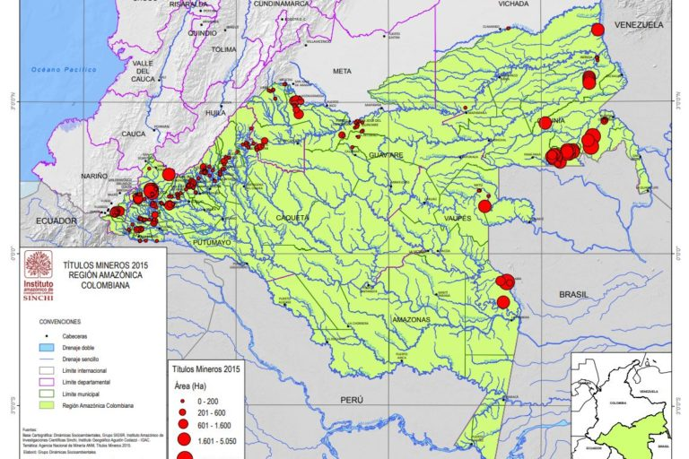 Mining titles in the Colombian Amazon region until 2015. Map courtesy of SINCHI Institute.