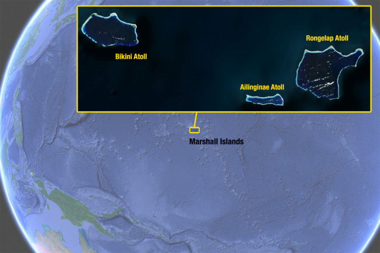 The Marshall Islands, with a zoom into Bikini, Rongelap and Ailinginae Atolls. Map created by Mongabay using SIO/Navy imagery via Google Earth.