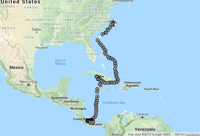 Lucaya the leatherback's current route from her nesting grounds in Panama across the Caribbean Sea, and north along the Eastern Seaboard of the U.S.