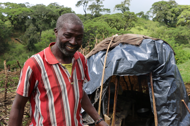 David Kisang outside his hut in Embobut Forest. Image by Anthony Langat for Mongabay.