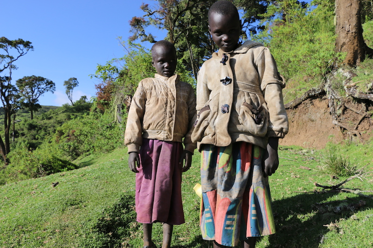 Sengwer children pose for a photo inside Embobut Forest on their way to get milk from their father. Image by Anthony Langat for Mongabay.