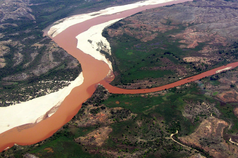 Aerial view of the red-colored Manambolo River. Photo by Rhett A. Butler.