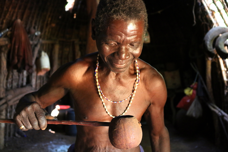 Mwazine Mnyambu Kalige, the sole resident and caretaker of the homestead at Kaya Kauma. Image by Sophie Mbugua for Mongabay.