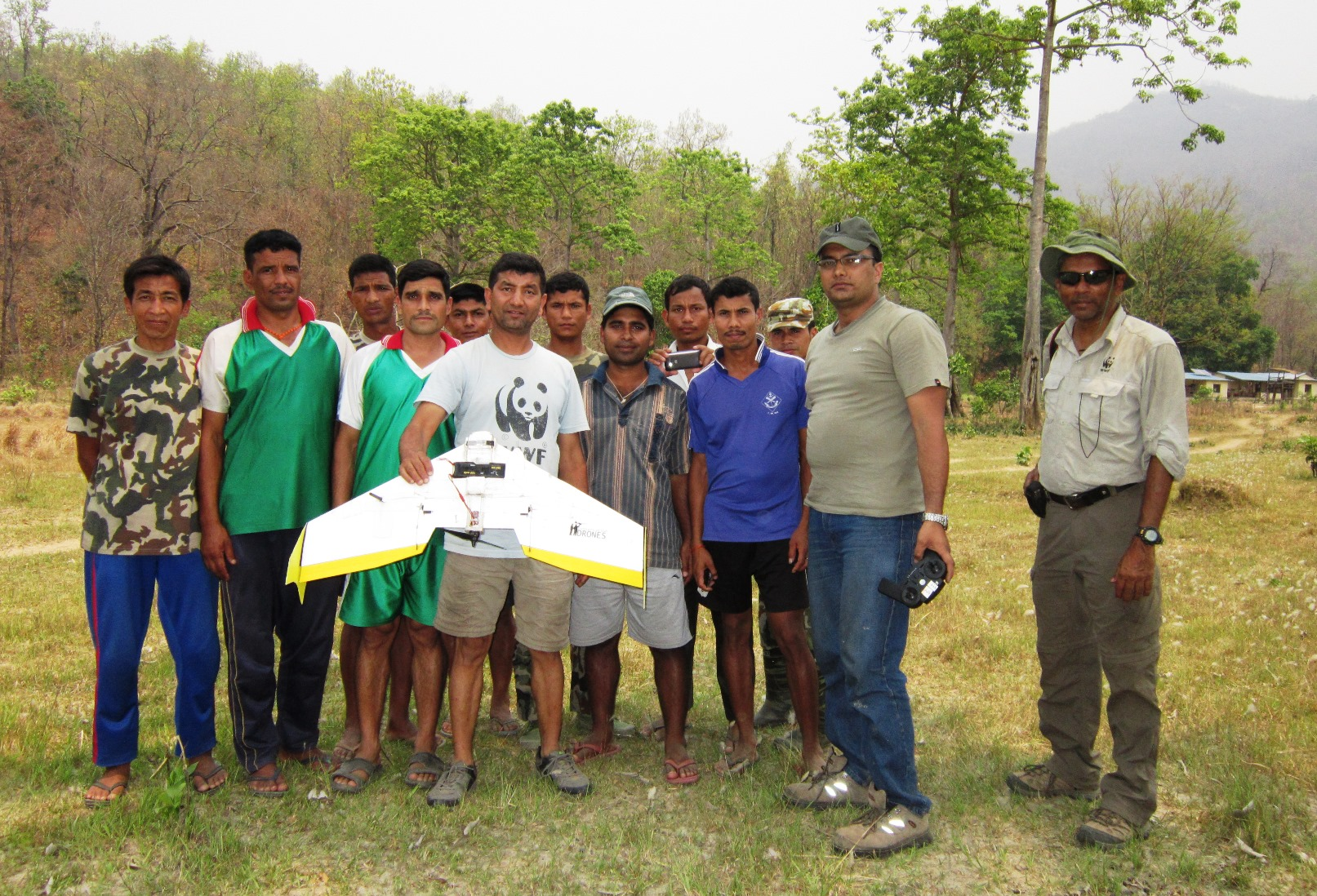 Gokarna Jung Thapa leads a drone training session in Bardia National Park. For the gharial study, the fixed-wing drone carried a small camera and took nearly 12,000 images.