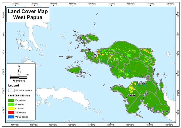 Figure 1: Land cover in West Papua province in 2016, based on data from the Ministry of Environment and Forestry
