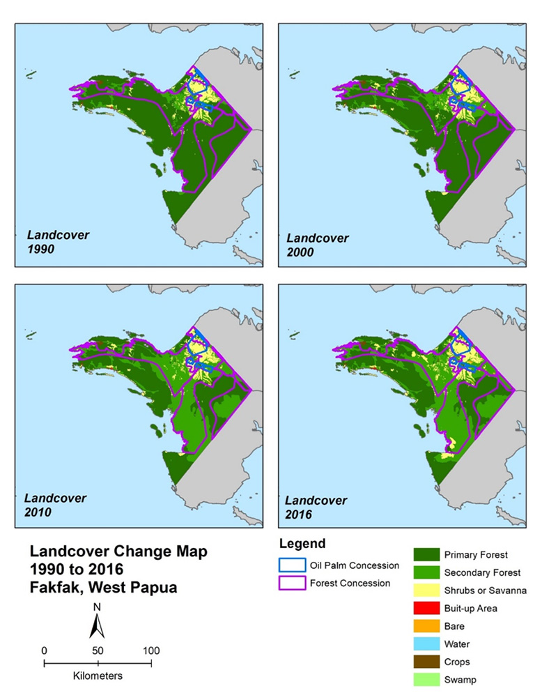 Figure 2: Landcover change in Fakfak District from 1990 to 2016, showing the large area of secondary forest in forest concessions, created by logging operations.