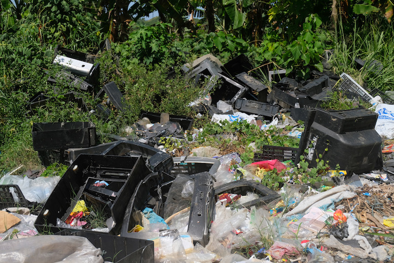 Unsegregated household waste at the illegal open dumpsite in Malapatan town in the southern Philippines province of Sarangani. Image by Bong S. Sarmiento for Mongabay.