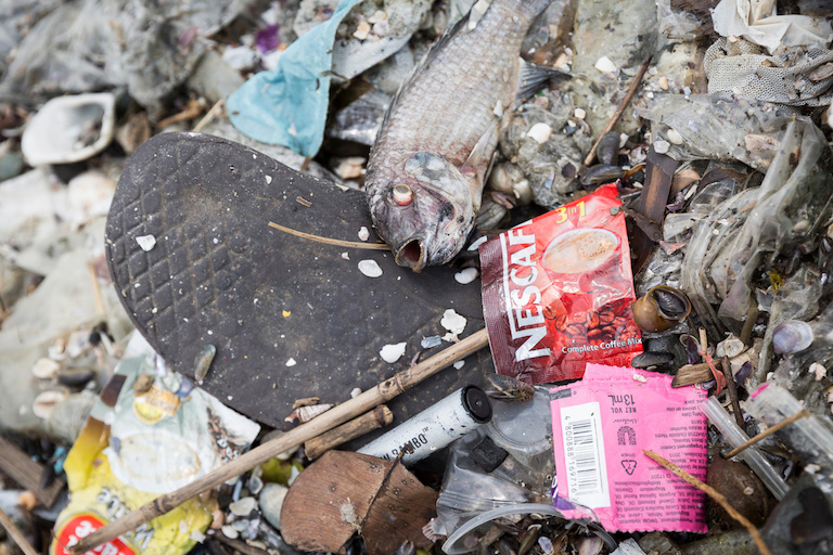 Single-use consumer product packaging comprised the bulk of the waste collected during the garbage audit at Freedom Island in Metro Manila last year. Image courtesy of Greenpeace.